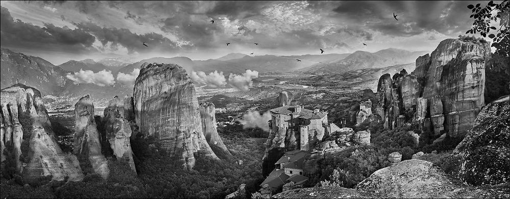 Medieval Meteora  Monastery of Roussanou on top of a rock pillar in the Meteora Mountains, Thessaly, Greece .<br /> <br /> Visit our LANDSCAPE PHOTO ART PRINT COLLECTIONS for more wall art photos to browse https://funkystock.photoshelter.com/gallery-collection/Places-Landscape-Photo-art-Prints-by-Photographer-Paul-Williams/C00001WetsxVxNTo