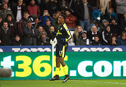 SWANSEA, WALES - Saturday, January 14, 2017: <br /> Arsenal's Alex Iwobi celebrates his goal against Swansea City during the FA Premier League match at the Liberty Stadium. (Pic by Gwenno Davies/Propaganda)