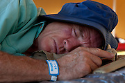 Henry Fagan enjoy a sunset nap before dinner after stage 1 of the 2011 Absa Cape Epic Mountain Bike stage race held from Saronsberg Wine Estate in Tulbagh, South Africa on the 28 March 2011..Photo by Greg Beadle/Cape Epic/SPORTZPICS