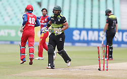 Gihahn Cloete of the Warriors bowled  by Bjorn Fortuin of the Bizhub Highveld Lions during the T20 Challenge cricket match between the Lions and the Warriors at the Kingsmead stadium in Durban, KwaZulu Natal, South Africa on the 4th December 2016<br /> <br /> Photo by:   Steve Haag / Real Time Images