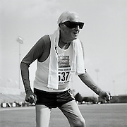 Senior athlete Champion Goldy, 90, of Haddonfield, New Jersey, is photographed participating in the track and field competition at the 2007 Senior Olympics, held at the University of Louisville's Cardinal Park Soccer & Track Stadium in Louisville, Kentucky on June 29, 2007. ..The event was sponsored by the National Senior Games Association, established in 1986, which oversees 50 state and 350 local and regional competitions for senior athletes in the United States each year. There are an estimated 250,000 senior athletes in training in the U.S. ...