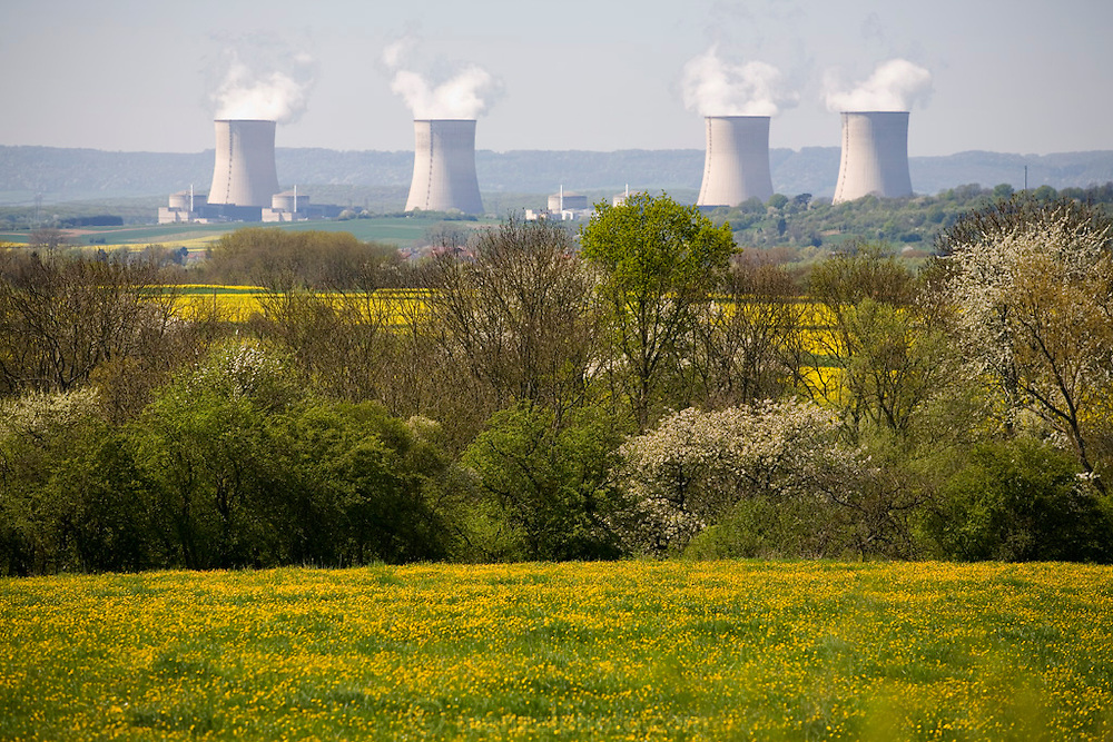 Nuclear power plant cooling towers of the Cannenom Nuclear Power Station in France on the Moselle River, near Thionville, 35 km from Luxembourg. Plant consists of 4 pressurized water reactors, each generating 1300 MW.