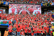 Wales fans look on. UEFA Euro 2016, last 16 , Wales v Northern Ireland at the Parc des Princes in Paris, France on Saturday 25th June 2016, pic by  Andrew Orchard, Andrew Orchard sports photography.