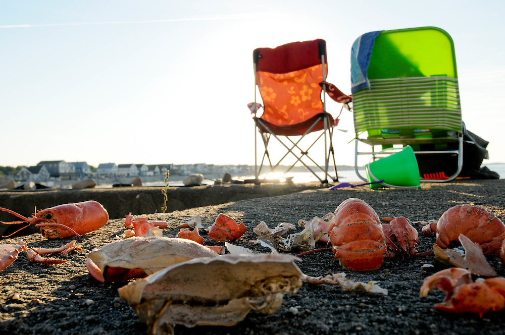 Only lobster and crab shells remain on a seawall in Scituate, Massachusetts, as evidence of a summer feast.