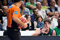 Unicaja Malaga's player Carlos Suarez talking with the referee during match of Liga Endesa at Barclaycard Center in Madrid. September 30, Spain. 2016. (ALTERPHOTOS/BorjaB.Hojas)