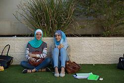 Two students at the University of Bethlehem. From a series of photos commissioned by  British NGO, Medical Aid for Palestinians (MAP).