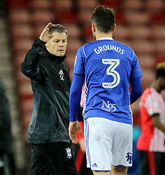 Birmingham City manager Steve Cotterill with Birmingham City's Jonathan Grounds after the match