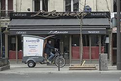 A delivery man boulevard de l'Hopital in Paris, France, on April 03, 2020, during the covid-19 emergency lockdown. Photo by Pierrick Villette/Avenir Pictures/ABACAPRESS.COM