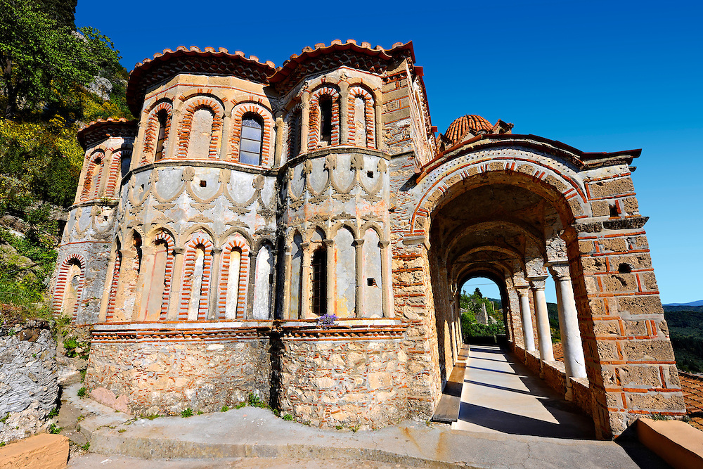 Exterior of the Byzantine Othodox monastery of Pantanassa ,  Mystras ,  Sparta, the Peloponnese, Greece. A UNESCO World Heritage Site .<br /> <br /> Visit our GREEK HISTORIC PLACES PHOTO COLLECTIONS for more photos to download or buy as wall art prints https://funkystock.photoshelter.com/gallery-collection/Pictures-Images-of-Greece-Photos-of-Greek-Historic-Landmark-Sites/C0000w6e8OkknEb8 <br /> .<br /> <br /> Visit our BYZANTINE ART PHOTO COLLECTION for more   photos  to download or buy as prints https://funkystock.photoshelter.com/gallery-collection/Roman-Byzantine-Art-Artefacts-Antiquities-Historic-Sites-Pictures-Images-of/C0000lW_87AclrOk