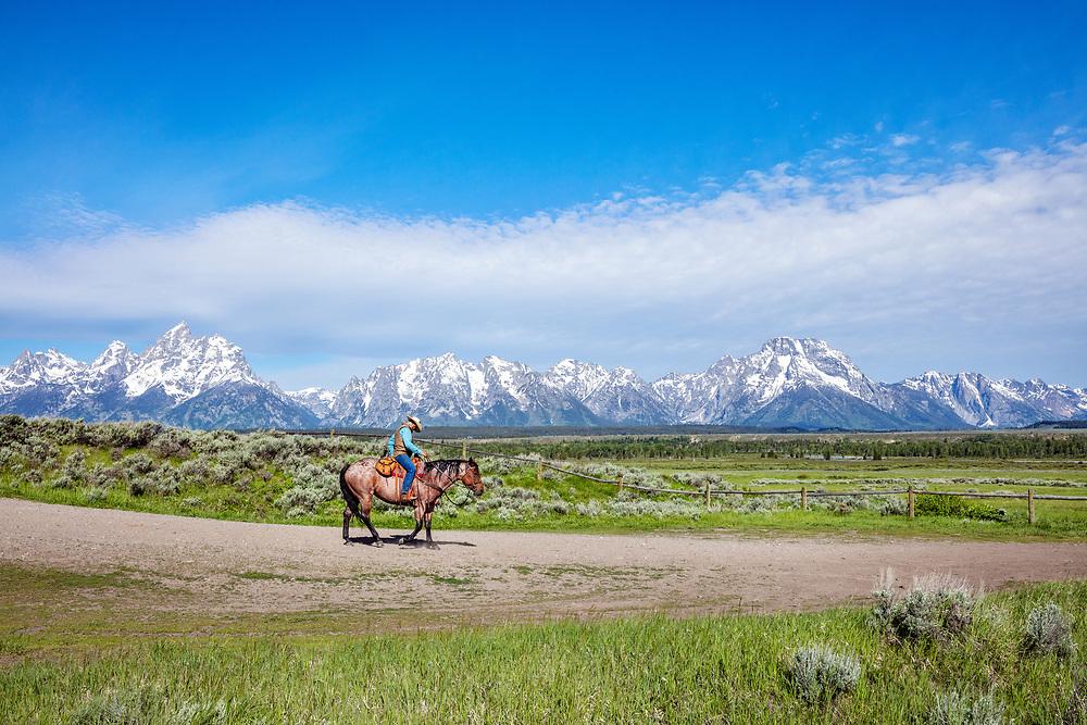 Horse riding, Grand Tetons National Park, Wyoming, USA
