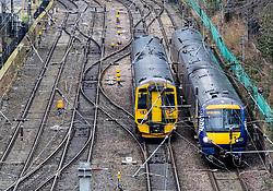 Scotrail passenger trains and tracks at  Waverley Station in Edinburgh, Scotland, United Kingdom