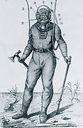 'Diver in waterproof  suit by Cabirol: Helmet with front and side windows and at D one-way escape valve for used air. H, metal collar,  G, lead weight. F, Air supply. I, Signal rope. Engraving c1870.'