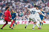 Real Madrid's player Alvaro Morata and Marco Asensio and Celta de Vigo's player Sergio Alvarez during a match of La Liga Santander at Santiago Bernabeu Stadium in Madrid. August 27, Spain. 2016. (ALTERPHOTOS/BorjaB.Hojas)