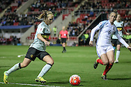 Janice Cayman (Belgium) crosses the ball as Casey Stoney (England) tries to close her down during the Euro 2017 qualifier between England Ladies and Belgium Ladies at the New York Stadium, Rotherham, England on 8 April 2016. Photo by Mark P Doherty.