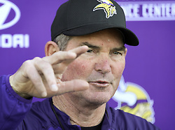 May 4, 2018 - Eagen, MN, USA - Vikings coach Mike Zimmer.  ] Report from first day of rookie mini-camp. ..BRIAN PETERSON • brian.peterson@startribune.com..Eagen,  MN  05/04/2018. (Credit Image: © Brian Peterson/Minneapolis Star Tribune via ZUMA Wire)
