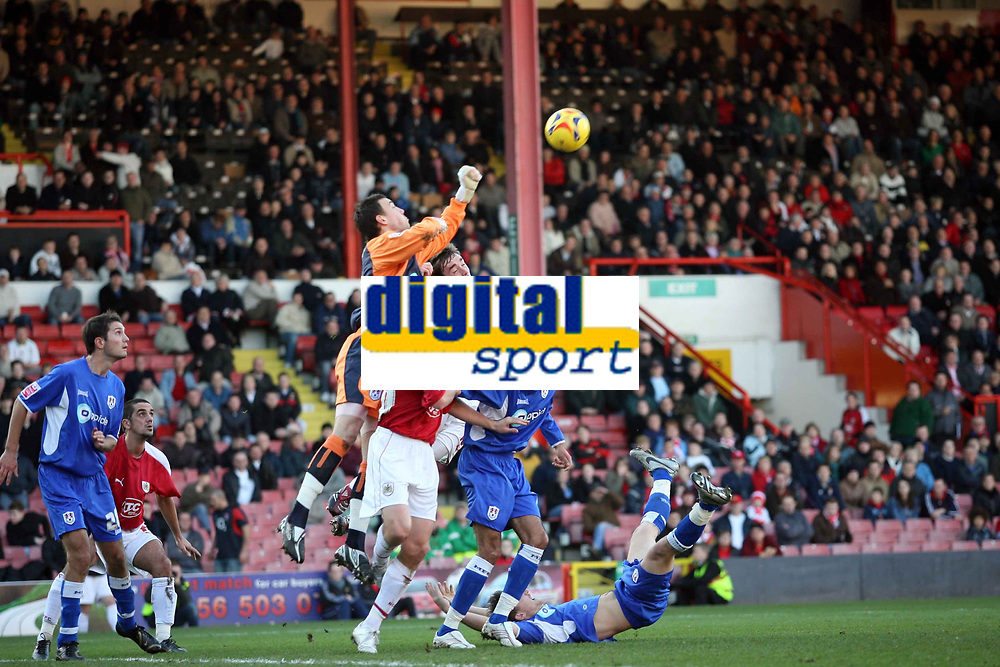 Photo: Rich Eaton.<br /> <br /> Bristol City v Millwall. Coca Cola League 1. 16/12/2006. Lenny Piedgeley Millwall goalkeeper pounches the ball clear