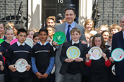 © Licensed to London News Pictures. 06/06/2013 London, UK. Comedian David Walliams meets with 100 school children in Downing Street, London ahead of the Nutrition for Growth Summit. <br /> The Britain's Got Talent judge, an avid supporter of 'Enough Food for Everyone IF' met Prime Minister David Cameron with the children who had decorated plates in support of the campaign. <br />  Photo credit : Simon Jacobs/LNP