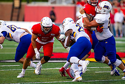 NORMAL, IL - September 07: Zeke Vandenburgh zeros in on Eagles runner Jovan Smith during a college football game between the ISU (Illinois State University) Redbirds and the Morehead State Eagles on September 07 2019 at Hancock Stadium in Normal, IL. (Photo by Alan Look)