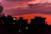 Buildings in silhouette at twilight, Bhaktapur, Kathmandu Valley, Nepal.
