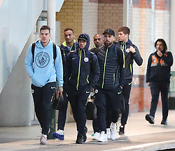7.12.18……… The Manchester City team get the train to London on Friday for their Premier League match against Chelsea………. Ederson, Gabriel Jesus, Danilo, Fernandinho, John Stones and Nikoilas Otamendi.