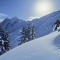Don Wilcox on Shuksan Arm, Mt. Baker ski area, WA, Mt. Shuksan (Cascades) bkg.