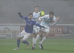 Marcus Mlynikowski (Fremad Amager) og Nikolaj Hansen (FC Helsingør) under kampen i 1. Division mellem FC Helsingør og Fremad Amager den 27. november 2020 på Helsingør Stadion (Foto: Claus Birch).