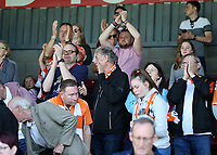 Blackpool fans enjoy the atmosphere inside of Glanford Park<br /> <br /> Photographer David Shipman/CameraSport<br /> <br /> The EFL Sky Bet League One - Scunthorpe United v Blackpool - Friday 19th April 2019 - Glanford Park - Scunthorpe<br /> <br /> World Copyright © 2019 CameraSport. All rights reserved. 43 Linden Ave. Countesthorpe. Leicester. England. LE8 5PG - Tel: +44 (0) 116 277 4147 - admin@camerasport.com - www.camerasport.com
