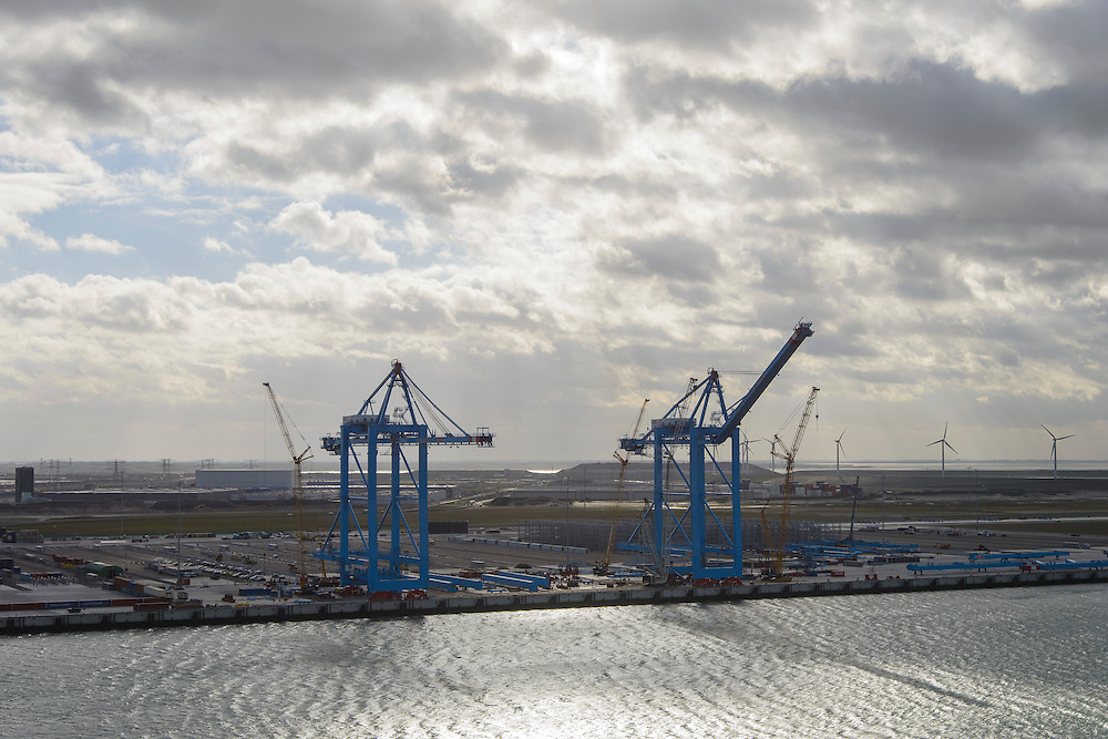 Nederland, Zuid-Holland, Rotterdam, 23-10-2013;Tweede Maasvlakte (MV2) met Prinses Amaliahaven. Aanleg APM Terminals (Maersk Line).<br /> New Maasvlakte (MV2), new harbour area Port of Rotterdam, artificial land.<br /> luchtfoto (toeslag op standard tarieven);<br /> aerial photo (additional fee required);<br /> copyright foto/photo Siebe Swart