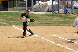 05 April 2008: Valerie Hackett pulls in a throw to first. The Carthage College Lady Reds lost the first game of this double header to the Titans of Illinois Wesleyan 4-1 at Illinois Wesleyan in Bloomington, IL