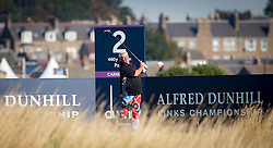 John Daly playing the second. Alfred Dunhill Links Championship this morning at Championship Course at Carnoustie.