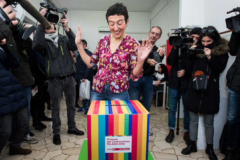 Milan, Italy - 06-02-2016: Mayoral candidate Francesca Balzani votes at the Democratic Party (PD) primary administrative elections.
