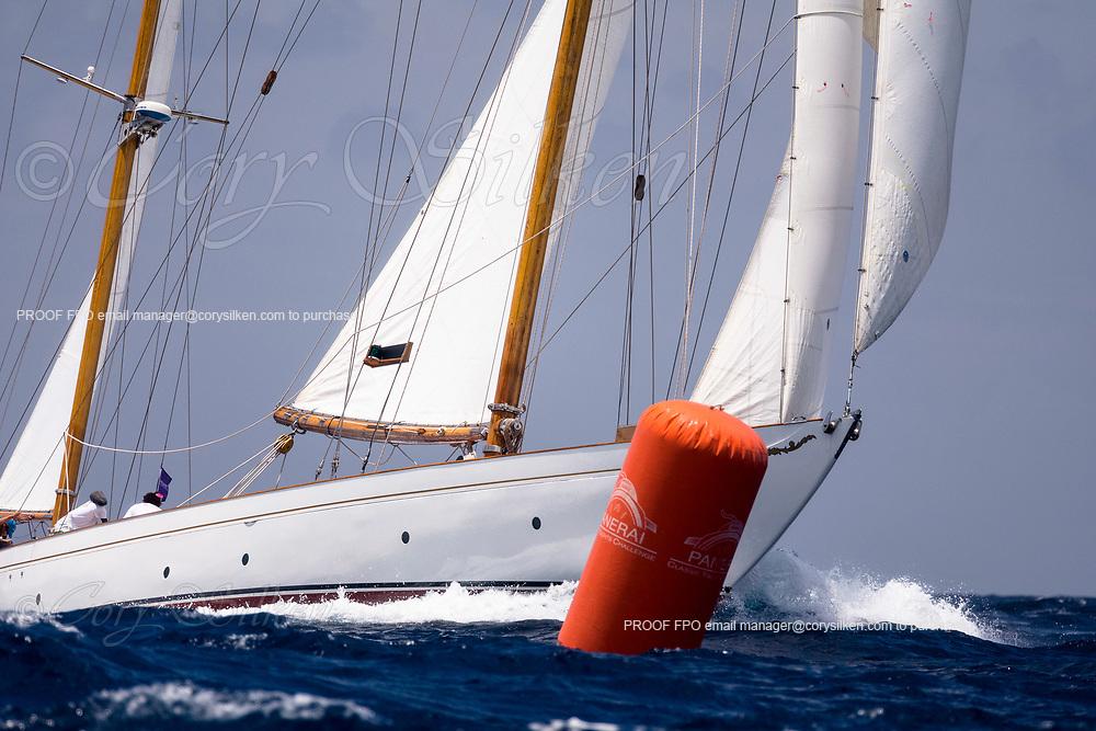Mariella sailing in the Antigua Classic Yacht Regatta, Windward Race.
