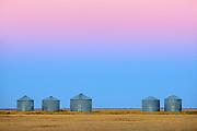 Grain bins at dawn<br /> Moose Jaw<br /> Saskatchewan<br /> Canada