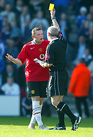 Fotball<br /> Premier League England 2004/2005<br /> Foto: BPI/Digitalsport<br /> NORWAY ONLY<br /> <br /> 30.10.2004<br /> Portsmouth v Manchester United<br /> <br /> Wayne Rooney looks shocked as he is shown the yellow card
