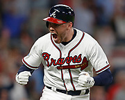 ATLANTA, GA - OCTOBER 8:  during Game 3 of the NLDS between the Los Angeles Dodgers and the Atlanta Braves at SunTrust Park on Sunday, October 8, 2018 in Atlanta, Georgia. (Photo by Mike Zarrilli/MLB Photos via Getty Images) *** Local Caption *** Freddie Freeman