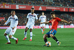 March 23, 2019 - Valencia, Valencia, Spain - Marco Asensio of Spain national team and Omar Elabdellaoui of Norway national team during the European Qualifying round Group F match between Spain and Norway at Estadio de Mestalla, on March 23 2019 in Valencia, Spain  (Credit Image: © Maria Jose Segovia/NurPhoto via ZUMA Press)