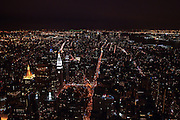 The skyline of New York City looking south from the obervation deck of the Empire State Building.