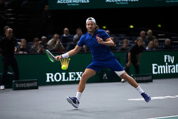 Lucas Pouille (FRA) during his third round match against Jack Sock (USA) during day four of the Rolex Paris Masters at the Accord Hotel Arena.Paris, France, Wednesday November 2, 2017. Photo by Yann Bohac/ANDBZ/ABACAPRESS.COM