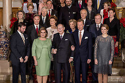 """File photo dated December 8, 2016 of Grand Duke Jean of Luxembourg, flanked by Grand Duchess Maria Teresa and Grand Duke Henri, attending the ceremony marking the 125th anniversary of the Luxembourg dynasty in Luxembourg. Grand Duke Jean has died at the age of 98 with his family at his bedside. He had recently been admitted to hospital suffering from a pulmonary infection. Grand Duke Henri announced the death of his father in a statement saying, """"It is with great sadness that I inform you of the death of my beloved father, His Royal Highness Grand Duke Jean, who has passed away in peace, surrounded by the affection of his family."""" Photo by Robin Utrecht/ABACAPRESS.COM"""