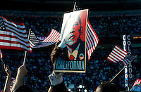 California delegates show their support for Barack Obama before his speech at Invesco Field on the final day of the 2008 Democratic National Convention.