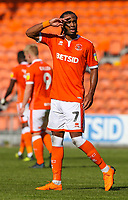 Blackpool's Nathan Delfouneso celebrates scoring the opening goal <br /> <br /> Photographer Alex Dodd/CameraSport<br /> <br /> The EFL Sky Bet League One - Blackpool v Accrington Stanley - Saturday August 25th 2018 - Bloomfield Road - Blackpool<br /> <br /> World Copyright © 2018 CameraSport. All rights reserved. 43 Linden Ave. Countesthorpe. Leicester. England. LE8 5PG - Tel: +44 (0) 116 277 4147 - admin@camerasport.com - www.camerasport.com