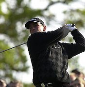 19/10/2003 - Photo  Peter Spurrier.2003 HSBC World Match Play Championship - Wentworth.Sunday - Final Day- Ernie Els v Thomas Bjorn:.Thomas Bjorn follow's the flight of his drive.....[Mandatory Credit Peter Spurrier/ Intersport Images]