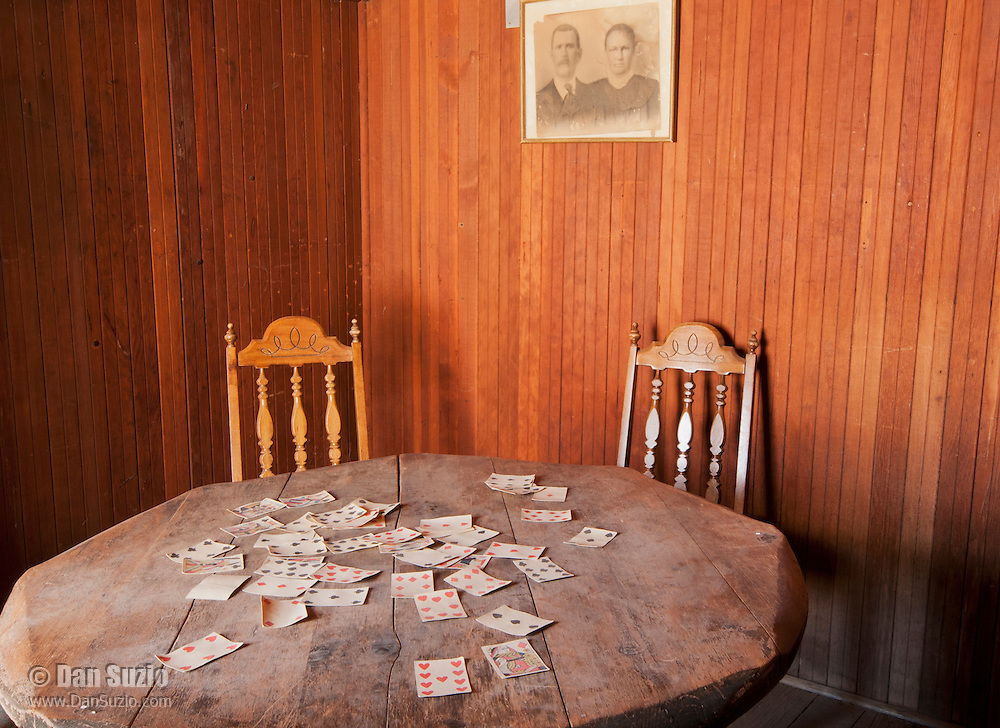 Card table in the American Hotel, built in 1871 at Cerro Gordo, a mining community in the Inyo Mountains near Keeler, California
