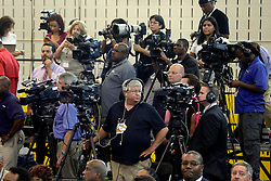 27 August 2015. Andrew P. Sanchez & Copelin-Byrd Multi Service Center, Lower 9th Ward, New orleans, Louisiana.<br /> The Media prepare for a visit from President Obama.<br /> Photo credit©; Charlie Varley/varleypix.com.