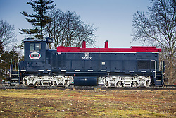 Missouri North Central RR MRIX 1477 Locomotive sits on a line in Wapella Illinois.  The locomotive was built in 1975 and is a EMD MP15AC model