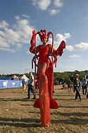 Woman wearing a Lobster outfit, Glastonbury Festival, Somerset, Britain - 28 June 2003.