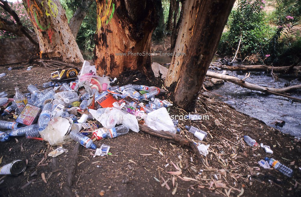 Garbage and waste left by hikers out in nature