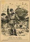 Benito Mussolini (1883-1945) declaring the whole of Capri a bird sanctuary. 'Punch', 1932.