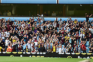 Scott Sinclair of Aston Villa (9) celebrates with the Villa fans after he scores his teams 2nd  goal .Barclays Premier League match, Aston Villa v Sunderland at Villa Park in Birmingham, Midlands on Saturday 29th August  2015.<br /> pic by Andrew Orchard, Andrew Orchard sports photography.