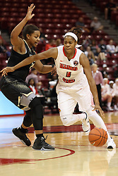 04 November 2015: Colleene Smith(1) heads for the hoop defended by Bre Zanders(20). Illinois State University Women's Basketball team hosted The Lions from Lindenwood for an exhibition game at Redbird Arena in Normal Illinois.